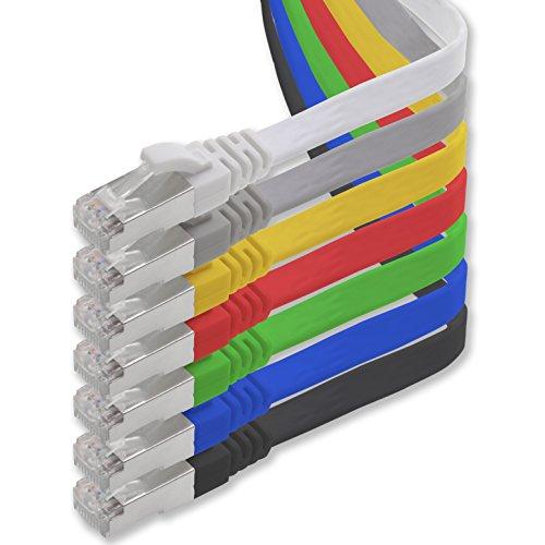 Câble réseau Cat. 7Gigabit Ethernet LAN, câble ruban, câble plat (RJ45), câble réseau, câble (10 Gbits/) Câble de pose plat slim compatible avec les Cat. 5, Cat. 5e etCat. 6 0.5m 7-Farben - 7 Stück