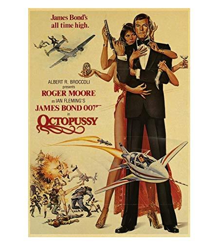 PCWDEDIAN Vintage James Bond Filmplakat 007 Retro Leinwand Wandplakat Für Zuhause/Raum/Bar Gemälde Wanddekoration F151 42X30Cm