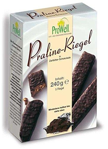 ProWell Diät- und Ernährungsprogramm - Praliné-Riegel in Zartbitter-Schokolade - 240 g (5 Riegel)