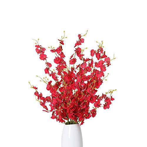 Kisflower 12Pcs Flores de orquídeas Artificiales Flores de orquídeas Falsas de Seda Ramo de Flores para la decoración del hogar (Rojo)