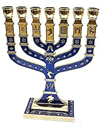 Traditional menorah with 7 candles.