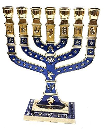 Golden Menorah 7 Branch 12 Tribes Of Israel Jerusalem Menora Blue Enamel 4.7'