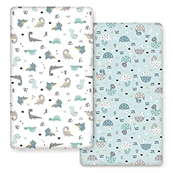 Stretch Ultra Soft Jersey Knit Fitted Crib Sheets Set 2 Pack,Fits All Standard Crib Mattress Pads Happy Dinosaurs for Girls and Boys…