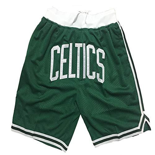 FGRGH CěLTǐCS Pantalones Cortos de Baloncesto, 0 Tātúmm Entrenamiento Fitness Casual Ropa Cortos, Gimnasio Retro Shorts shortsbreathable Deporte para Hombres Green-XL