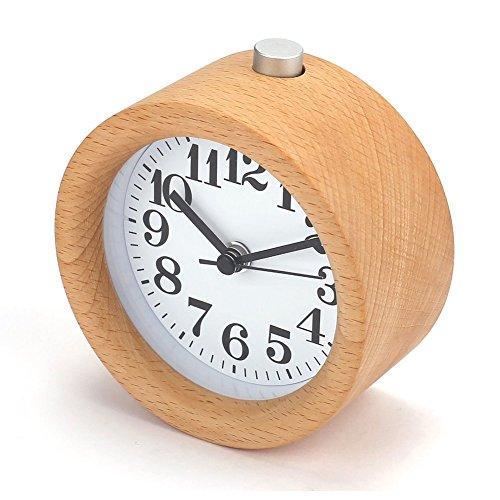 Sveglia in legno non ticchettio di viaggio sveglia con pulsante snooze e luce notturna classico mini orologio rotondo per ragazzi e ragazze funzionamento a batteria
