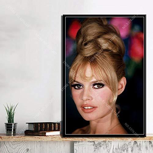 supmsds Kein Rahmen Kunst Dekor Hot Brigitte Bardot Filmstar Schauspielerin Modell Wandkunst Leinwand Malerei Seide Poster Home Decoration 60x75cm