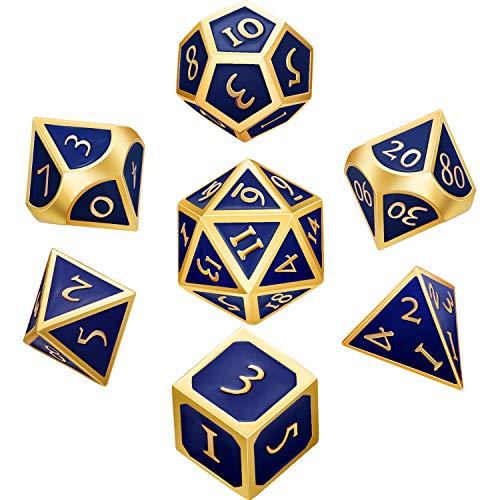 Hestya Juego de Dados de Metal de 7 Piezas Dados Poliédricos de Metal D&D Sólidos con Bolsa de Almacenaje y Aleación de Zinc con Esmalte (Dorado Azul Real)