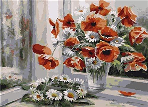 HAON Diy canvas kit voor volwassenen Witte en rode bloemen bij het raam Canvas olieverfschilderij Cadeau voor volwassenen Kinderen Verf op nummer Kits 16X20 inch Geen frame