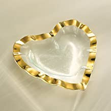 product image for Annieglass Ruffle Heart Shaped Glass Bowl - Gold Trim