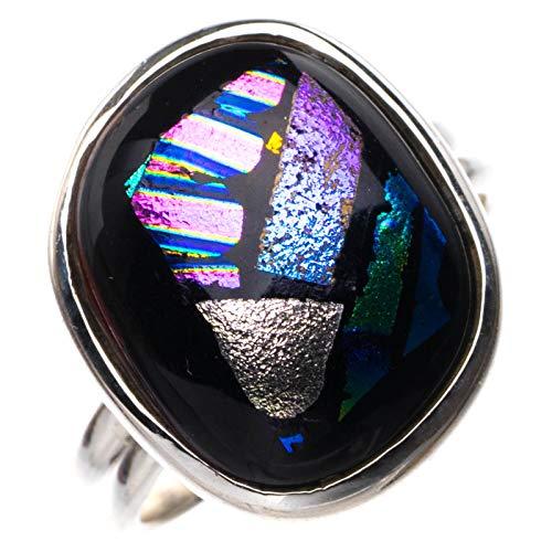 StarGems Natural Rainbow Dichroic Glass Handmade 925 Sterling Silver Ring M E2406