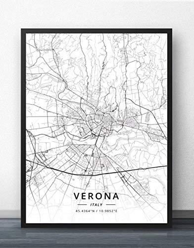 Leinwand Bild,Italien Verona Stadtplan Einfache Wandkunst Schwarz Weiß Pop Poster Minimalistische Malerei Modulares Büro Leben Personalisierte Kultur Tinte Raumdekoration, 40 Cm X 50 Cm / 15,7 * 19