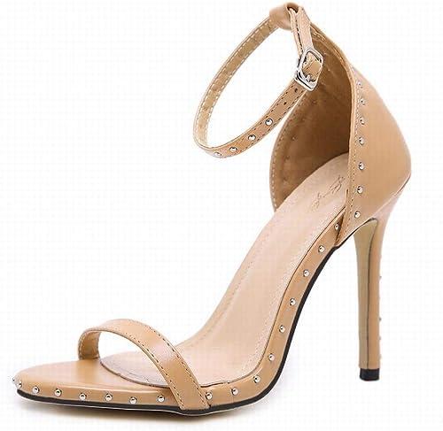 EGS-chaussures Sandales Sandales Sandales à Talons Hauts pour Femmes Rivet Sexy Ultra Ultra Talons Chaussures de Cricket (Couleur   Aprikosen, Taille   38) 153