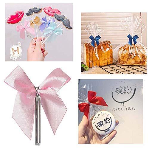 50 Stück Band Schleife Handarbeit, Geschenkschleife,Dekoschleife Schmetterlinge für Bonbons Taschen / Cellophanbeutel / Süßigkeiten / Brot / Xmas Geschenk / Hochzeit / Autodeko etc - (Pink)