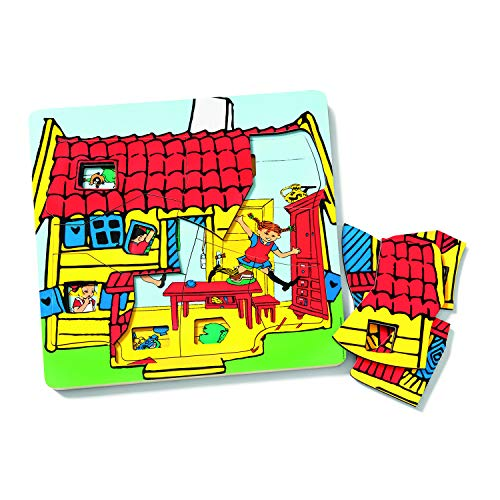 Micki & Friends 44380500 Pippi Langstrumpf Lagenpuzzle 24 Teile - Puzzle - Schichtenpuzzle Holzpuzzle in 3 Schichten – Holzspielzeug Kinder - Kinderpuzzle ab 3 Jahren - Astrid Lindgren
