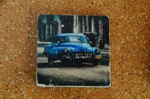 Havanna Oldtimer Untersetzer aus Travertin Stein Fliese türkis, handmade coaster