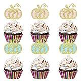 24Pcs Glittery Pumpkin Cake Cupcake Topper- Pumpkin Gender Reveal Party Supplies,Pumpkin Baby Shower,Fall Baby Shower Decorations,Pumpkin Baby Shower Cake Decor