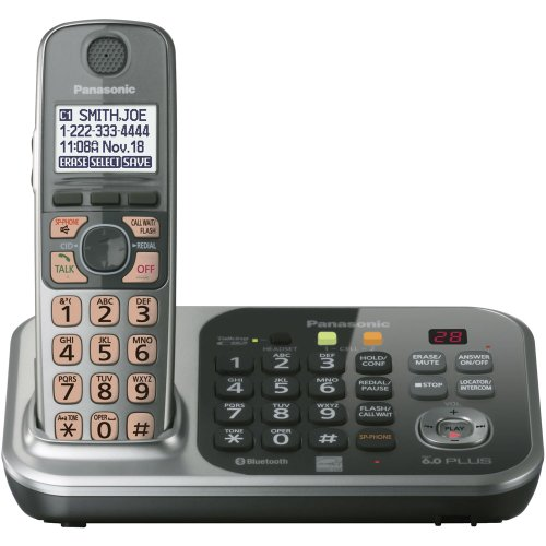 Panasonic KX-TG7741SDECT 6.0 Link-to-Cell via Bluetooth Cordless Phone with Answering System, Silver, 1 Handset