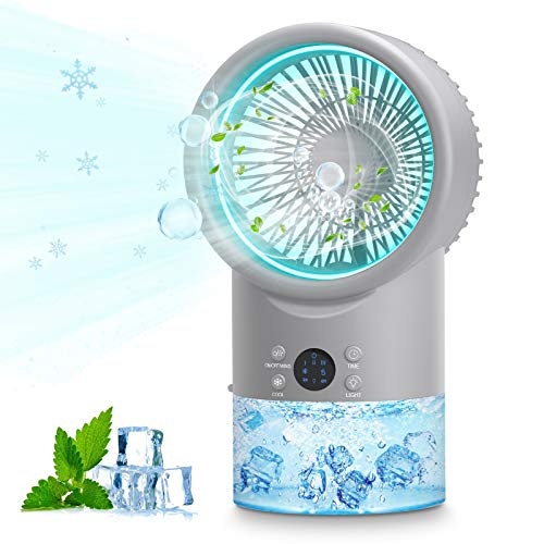 Portable Air Cooler Conditioner, Table Conditioner 3 in 1 Cool Unit Personal Mini Air Conditioner Space Cooler Adjustable Evaporative Humidifier for Home Travel Office, Night Light with 7 Colors