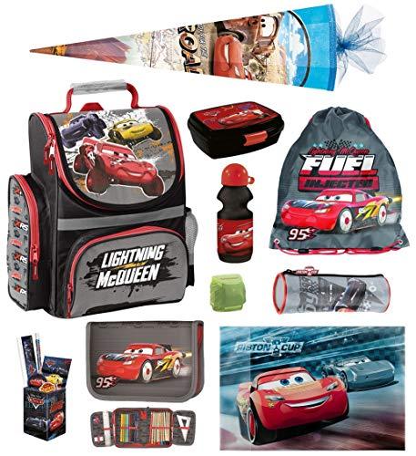 Familando Disney Cars Schulranzen-Set 15tlg. mit Regenschutz, Sportbeutel, Federmappe und Schultüte 85cm DCAUCH-525