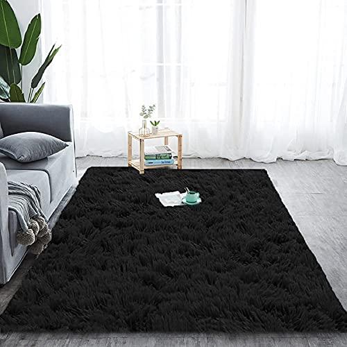 Tapis de salon à poils longs - Doux - Pour chambre à coucher - Noir - 160 x 200 cm