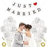 Just Married Decoracion, 40 piezas 12' Globos Just Married Globos Blancos Boda Just Married Banner Kit de Decoración para Bodas, para bodas comprometimo fiestas (40)