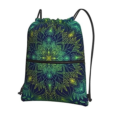 Zaino con coulisse, borsa da palestra, borsa sportiva con tasca con cerniera per uomini e donne, yoga, corsa, trekking, atletica, mandala
