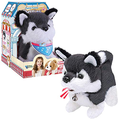 Liberty Imports Plush Husky Toy Puppy Electronic Interactive Pet Dog - Walking, Barking, Tail Wagging, Stretching Companion Animal for Kids