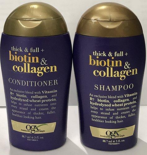 OGX Thick & Full Biotin & Collagen Shampoo and Conditioner Set 3 oz. Travel Size