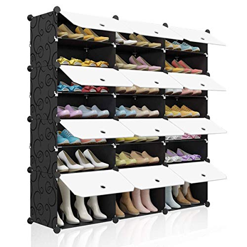 KOUSI Portable Shoe Rack Organizer 48 Pair Tower Shelf Storage Cabinet Stand Expandable for Heels, Boots, Slippers, 8 Tier Black