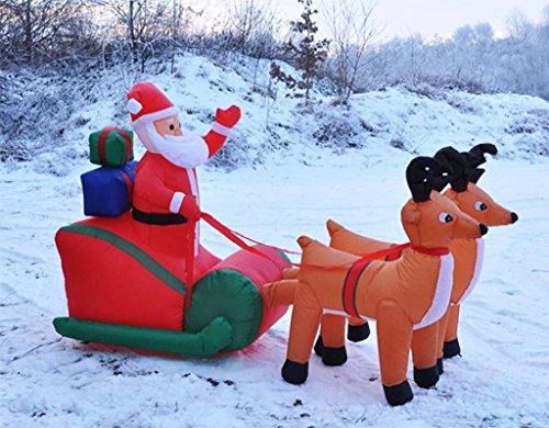 Hi Bebe Père Noël avec Luge Auto-gonflante 240 cm de Long avec souffleur 54118