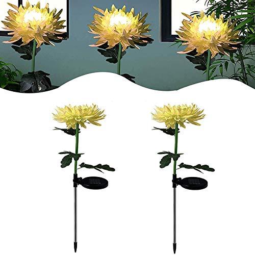Luces LED de estaca de jardín solar de crisantemo artificial, luces solares decorativas de flores de paisaje al aire libre, impermeables para jardín, luces solares de flores de patio trasero Yellow