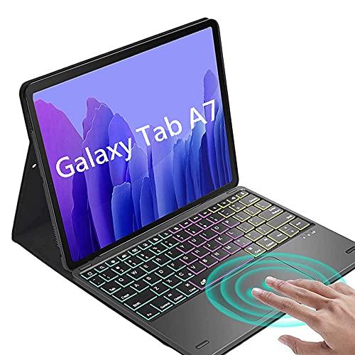 QYiD Funda con Teclado para Galaxy Tab A7 10.4' 2020 Model (SM-T500/T505/T507), Retroiluminación Teclado con Touchpad [QWERTY Español], Funda de PU Folio para Galaxy Tab A7, Negro