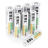 EBL 8pcs Kit AA et AAA Piles Rechargeables- avec 4X AA 2800mAh et 4X AAA 1100mAh(avec Boîte de Stockage de Piles)