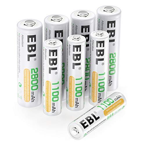 EBL 8pcs 1.2V AA AAA Ni-MH Batterie Ricaricabili Combinate, Confezione 4 X 2800mAh AA Pile Ricaricabili & 4 X 1100mAh AAA Pile Ricaricabili