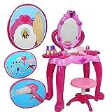 XULJ Tocador de Princesa Chica de inducción Dresser Princesa Gran Vestir Juguete Dresser Tabla de Pelo Secador de simulación de Juguete for niños de Infantil (Color : Pink, Size : 54X23X70cm)