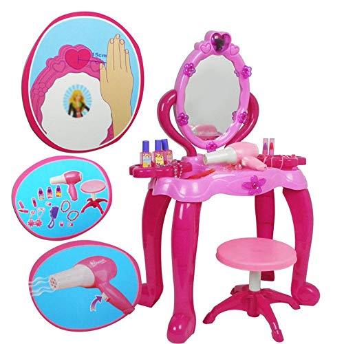 HYMY Mädchen Schminktisch Simulation Fön Kinder Spielzeug Mädchen Induction Dresser Prinzessin großer Frisierkommode Elegante Form Design & Kristall Knöpfe (Color : Pink, Size : 54X23X70cm)