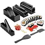 AHP Fabricación del Sushi Kit - Kit De Sushi De DIY Que Hace Sushi Roll Arrocera Rodillo De Molde con Sushi Cuchillo 11 Piezas De Bricolaje Set De Sushi - Fácil Y Diversión - Sushi Rolls,Negro
