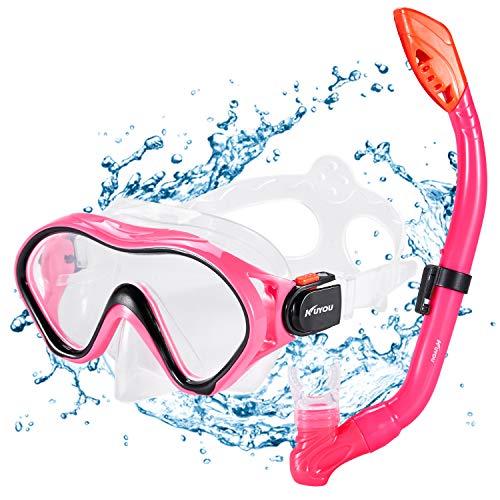 KUYOU Premium Kinder Schnorchelset Taucherbrille mit Schnorchel Tauchset gehärtete Anti-Beschlag Gläser Taucherbrille wasserdichte Tauchmaske und trockenem Schnorchel Set (Rot)