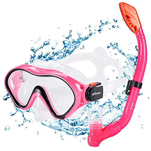 Kuyou Premium snorkelset voor kinderen, duikbril met snorkel, duikset, geharde anti-condens-glazen, duikbril, waterdicht duikmasker en droge snorkelset