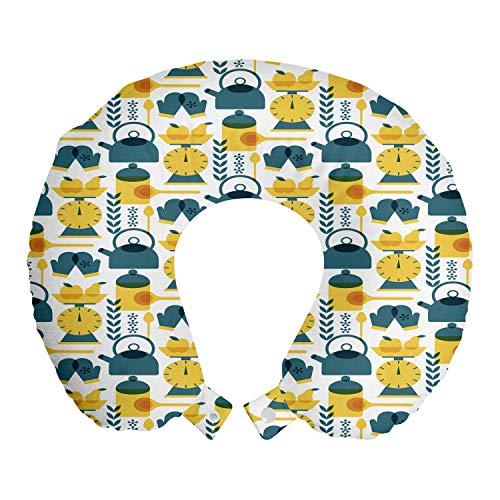 ABAKUHAUS Hobby Reisekissen Nackenstütze, Küchengeräte Zubehör Artikel, Schaumstoff Reiseartikel für Flugzeug und Auto, 30x30 cm, Senf und Teal