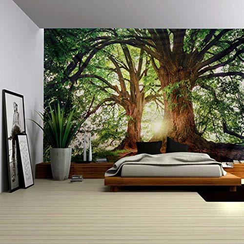 ENJOHOS Nature Forest Thick Tree Wall Tapestry Large 3D Trunk Print Wall Art Hanging for Bedroom Living Room Dorm Decor, W90 x T71