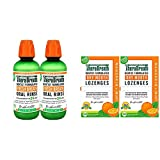 TheraBreath Fresh Breath Oral Rinse, Mild Mint, 16 Ounce Bottle (Pack of 2) and TheraBreath Dry Mouth Lozenges with ZINC, Mandarin Mint Flavor, 100 Lozenges (Pack of 2)