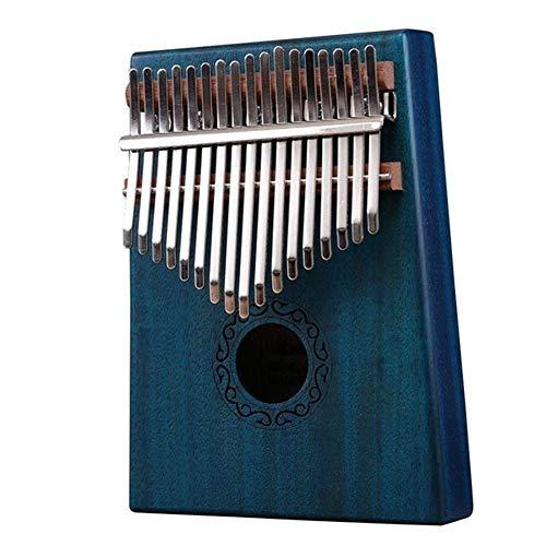Kalimba, Daumenklavier 17 Keys African Kalimba Daumenklavier Kinder Erwachsene Body Music Finger Percussion Tastenmahagoniholz Finger Klavier Musikinstrument mit Tuner Hammer (Color : Blue)