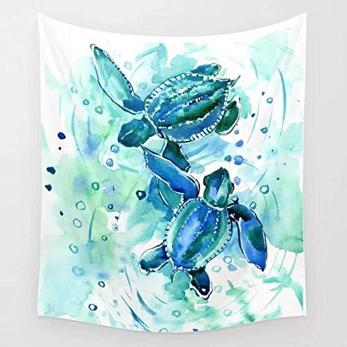 Tapiz de tortugas marinas azul turquesa en el océano Tapiz colgante de pared Decoración Tapices Arte de la pared Manta Ropa de cama Toalla Cortina de ventana 150x100cm