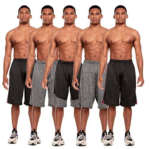 5 Pack: Men's Active Performance Quick-Dry Athletic Stretch Drawstring...