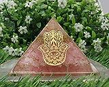 Amazing Gemstone Rose Quartz Orgone Pyramid for Love Vibes, EMF and Negative Energy Protection - Natural Rose Quartz Crystal Pyramid (Hamsa Hand Evil Eye)