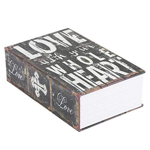 Caja de Seguridad para Libros creativos, Caja Fuerte para Libros de desvío con Cerradura de combinación, Estuche de Almacenamiento de colección de Joyas de Dinero portátil (Black)