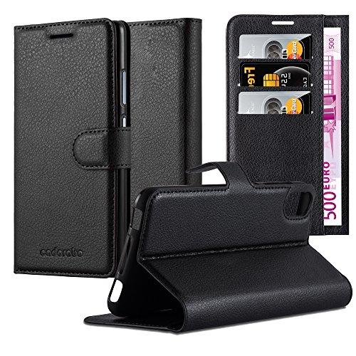 Cadorabo Hülle für HTC Desire 10 Lifestyle/Desire 825 - Hülle in Phantom SCHWARZ – Handyhülle mit Kartenfach & Standfunktion - Hülle Cover Schutzhülle Etui Tasche Book Klapp Style