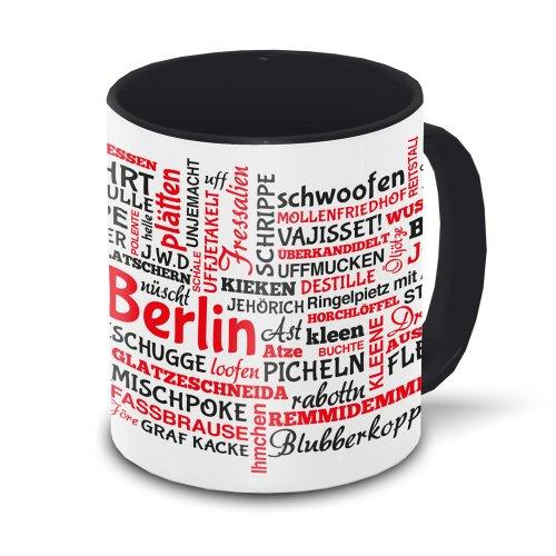 Berlin-Tasse Tagcloud - weiß/schwarz - Tasse mit typischen Wörtern im Berliner Dialekt