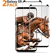 (Black) Galaxy S9 Screen Protector, FURgenie [2 - Pack] Half Screen Tempered Glass Screen Protector [Case Friendly] [Anti-Scratch][Anti-Fingerprint][Bubble Free] Compatible Samsung Galaxy S9